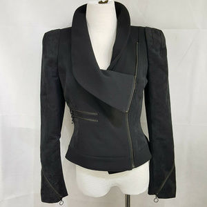 Worthington Moto Style Black Jacket M Zippers